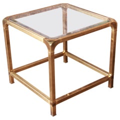 Mastercraft Hollywood Regency Brass and Glass Side Table