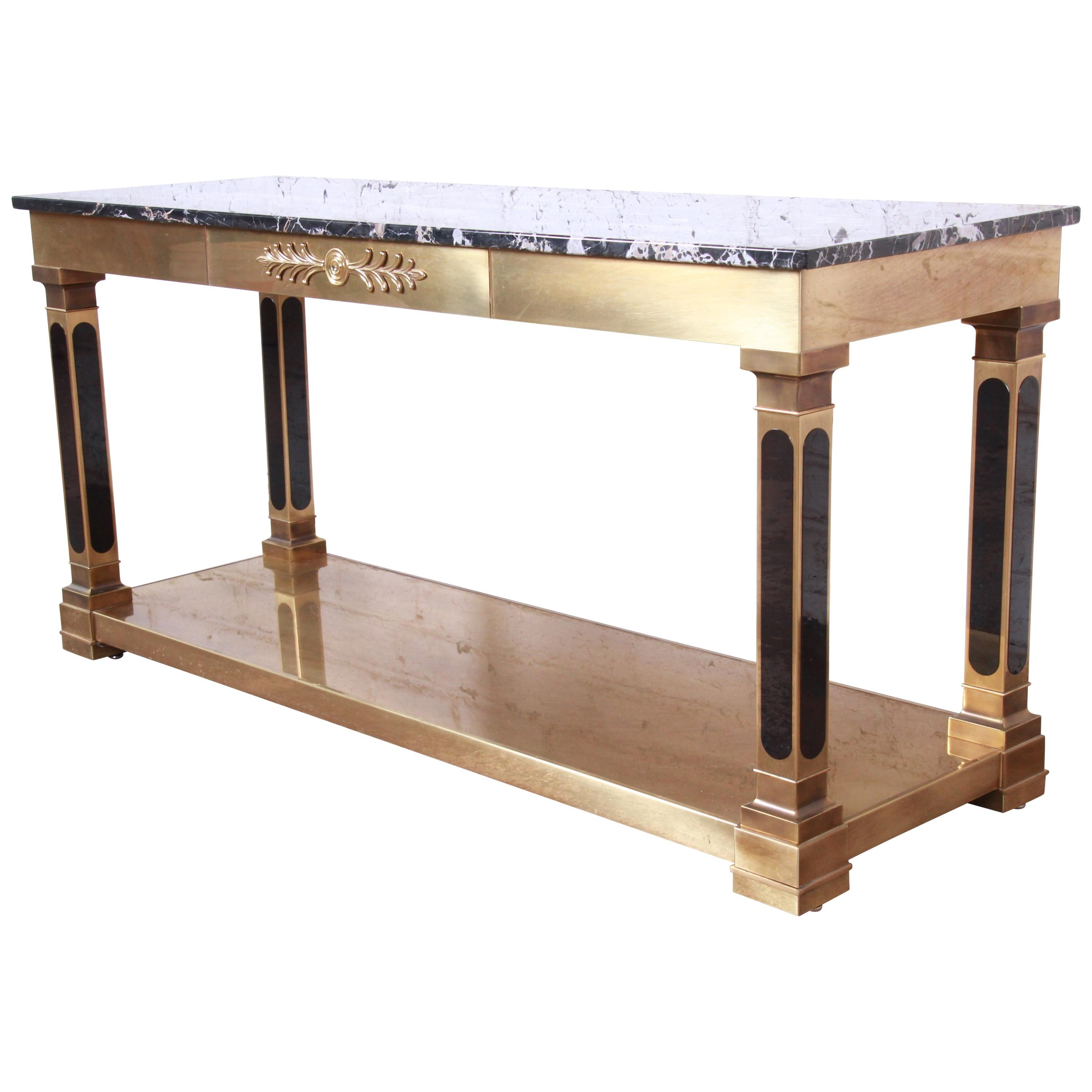Mastercraft Hollywood Regency Brass and Marble Console or Sofa Table