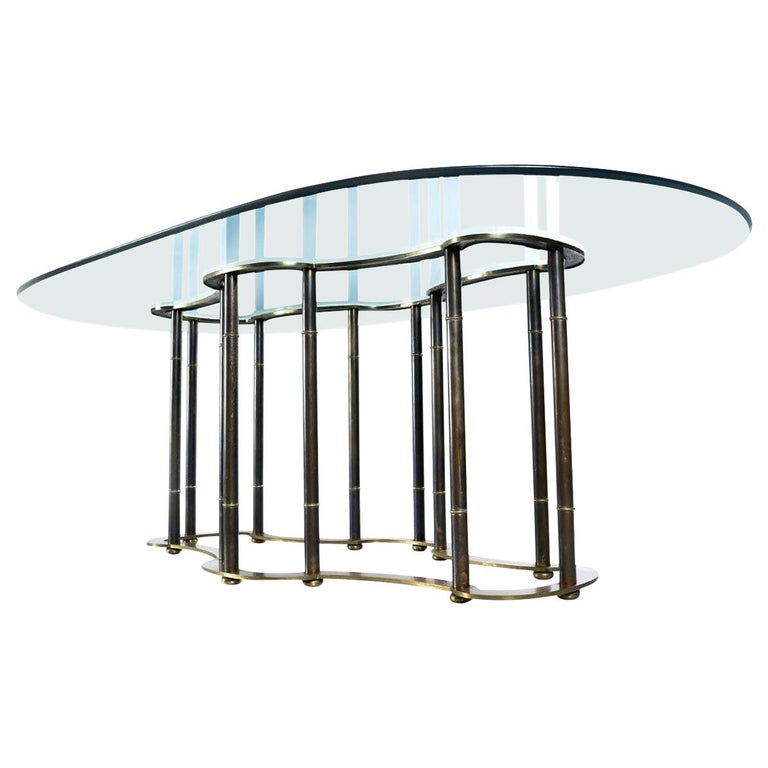 """Mastercraft Hollywood Regency Brass Bamboo """"Racetrack"""" Dining Table For Sale"""