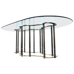 "Mastercraft Hollywood Regency Brass Bamboo ""Racetrack"" Dining Table"
