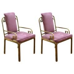 Mastercraft Hollywood Regency Brass Greek key Side Chairs