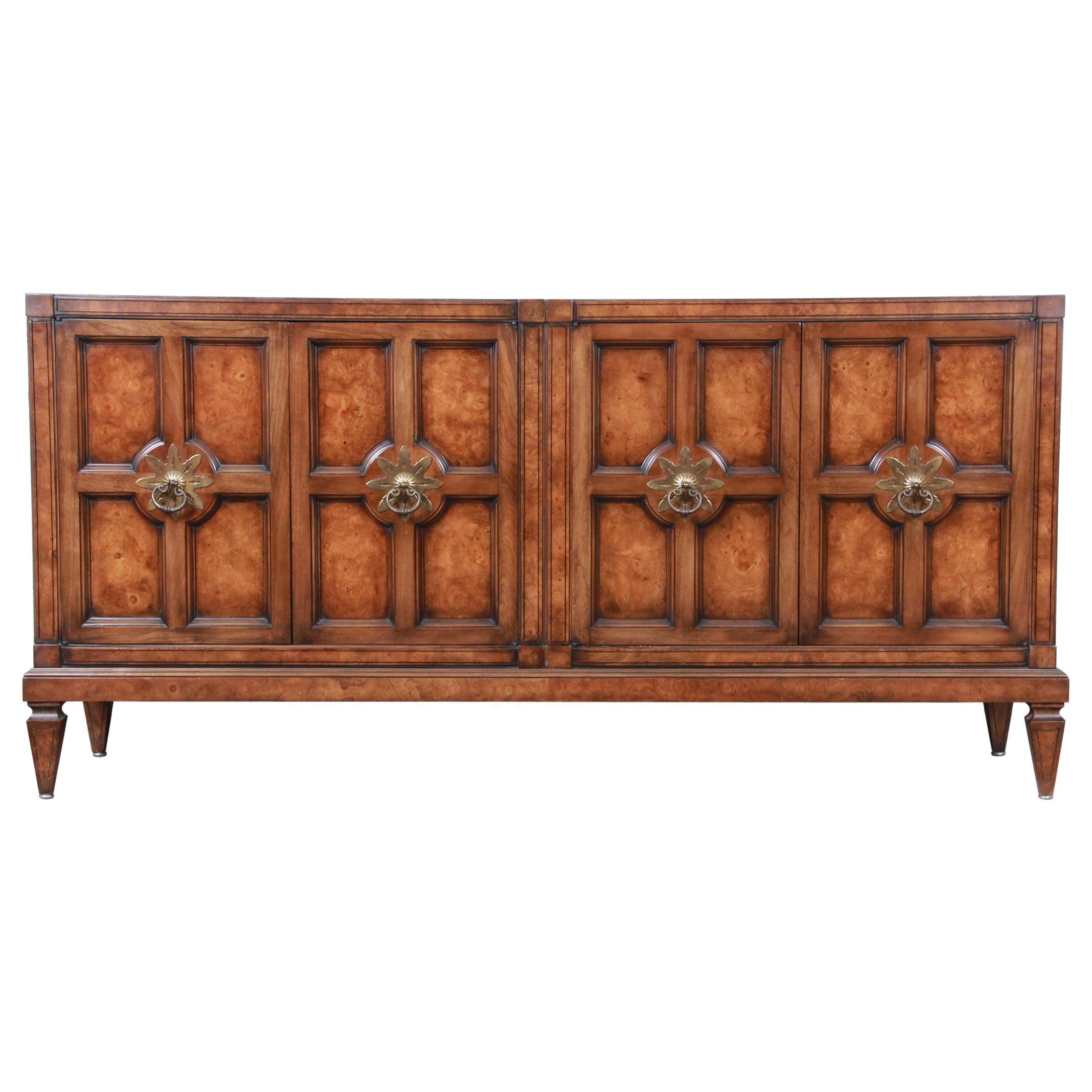 Mastercraft Hollywood Regency Burl Sideboard Credenza or Bar Cabinet, Restored
