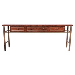 Mastercraft Hollywood Regency Chinoiserie Faux Bamboo Brass and Burl Console