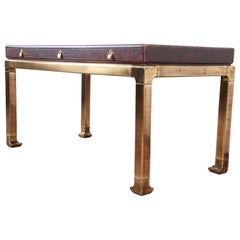 Mastercraft Hollywood Regency Chinoiserie Tortoise Shell and Brass Writing Desk