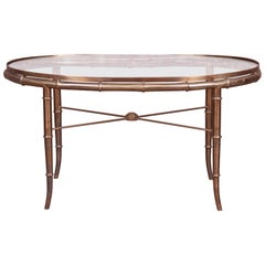 Mastercraft Hollywood Regency Faux Bamboo Brass and Glass Cocktail Table