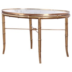 Mastercraft Hollywood Regency Faux Bamboo Brass Cocktail Table