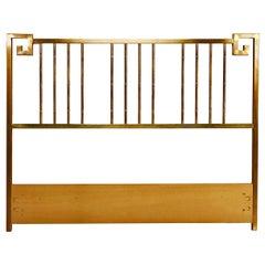 Mastercraft Hollywood Regency Greek Key Style Brass Queen Headboard Bed