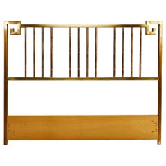 Mastercraft Hollywood Regency Greek Key Style Brass Queen Headboard Bed