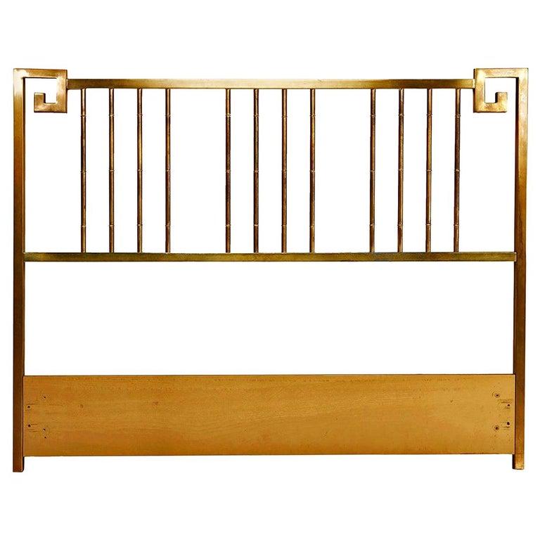 Mastercraft Hollywood Regency Greek Key Style Brass Queen Headboard Bed For Sale