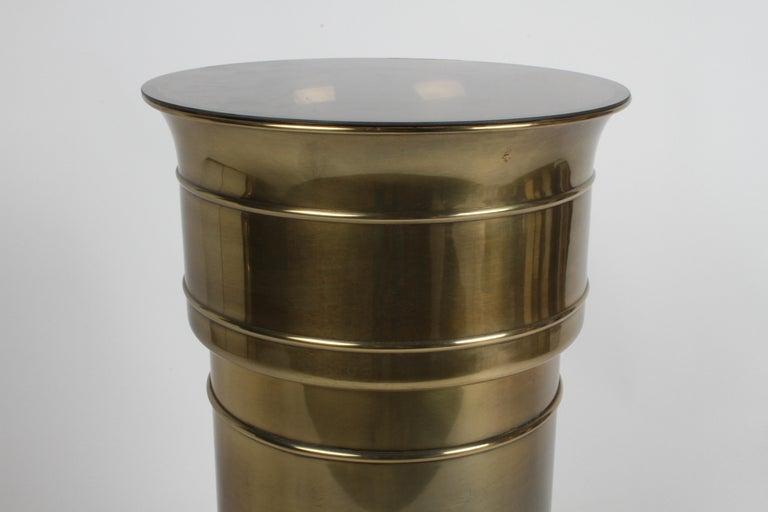 Mastercraft Hollywood Regency Round Cylinder Brass Display Pedestal or Planter For Sale 5