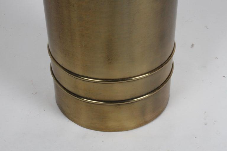 Mastercraft Hollywood Regency Round Cylinder Brass Display Pedestal or Planter For Sale 4