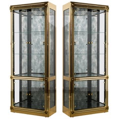 Mastercraft Illuminated Brass Display Cabinets, circa 1980, Pair Available