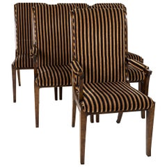 Mastercraft Mid Century Burlwood and Brass Upholstered Dining Chairs, Set of 6