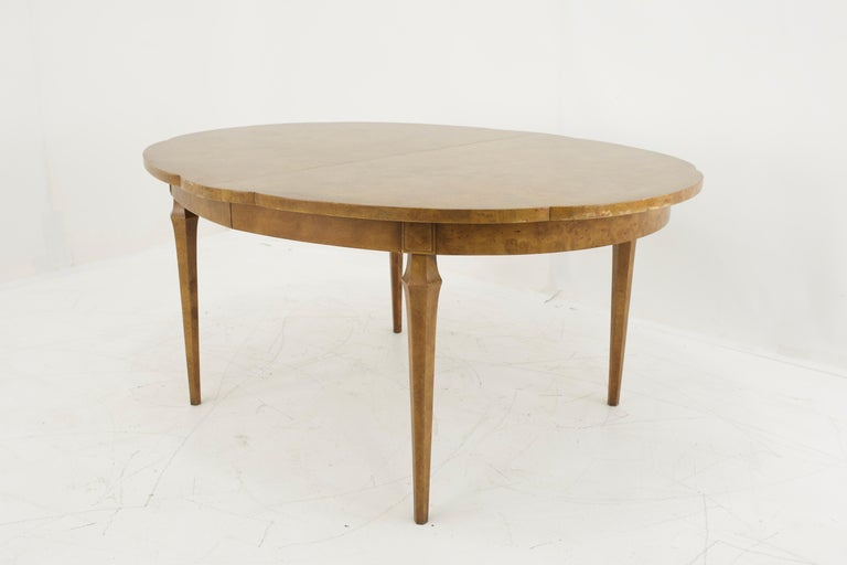 Late 20th Century Mastercraft Mid Century Burlwood Dining Table For Sale