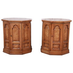 Mastercraft Midcentury Hollywood Regency Burl Wood Cabinet Side Tables, Pair