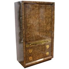Mastercraft Mid-Century Modern Amboyna Burl Wood Dresser Cabinet