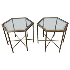 Mastercraft Mid-Century Modern Pair of Brass Faux Bamboo Drinks Side End Tables