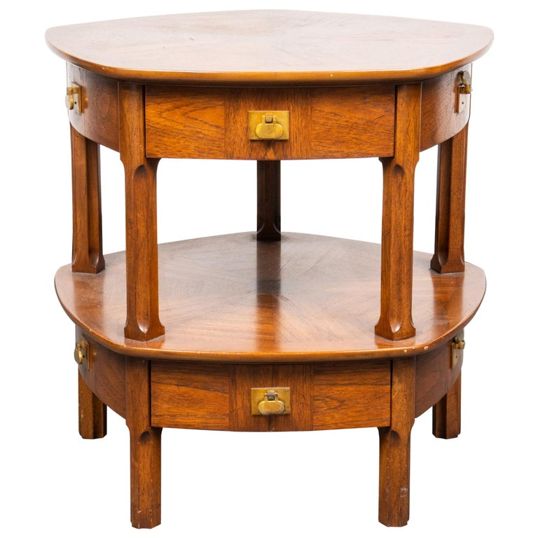 Mastercraft Mid-Century Modern Two-Tier Side Table with Drawers For Sale