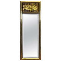 Mastercraft Mid-Century Modern Wall Mirror with Acid-Etched Metal Panel