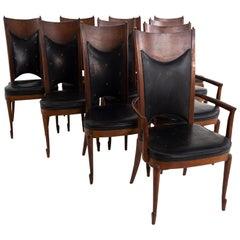 Mastercraft Mid Century Walnut and Burl Wood Dining Chairs, Set of 10