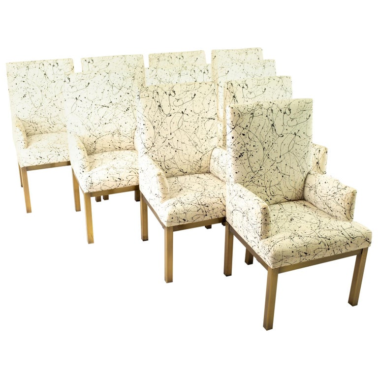 Mastercraft Mid Century Bronze Dining Chairs, Set of 10 For Sale