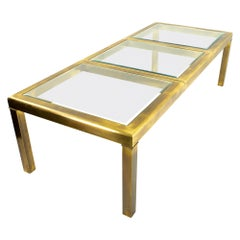 Mastercraft Midcentury Expanding Brass and Glass Dining Table