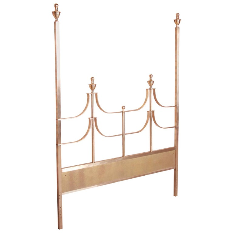 Mastercraft Midcentury Hollywood Regency Brass Queen Size Headboard, 1970s For Sale