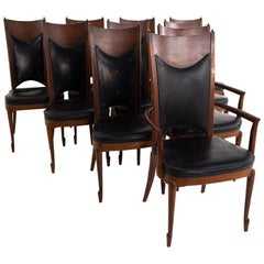 Mastercraft Midcentury Walnut and Burl Wood Dining Chairs, Set of 10