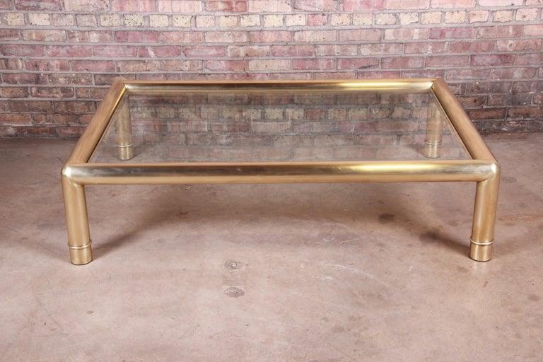 Mid-Century Modern Mastercraft Monumental Hollywood Regency Brass and Glass Cocktail Table For Sale