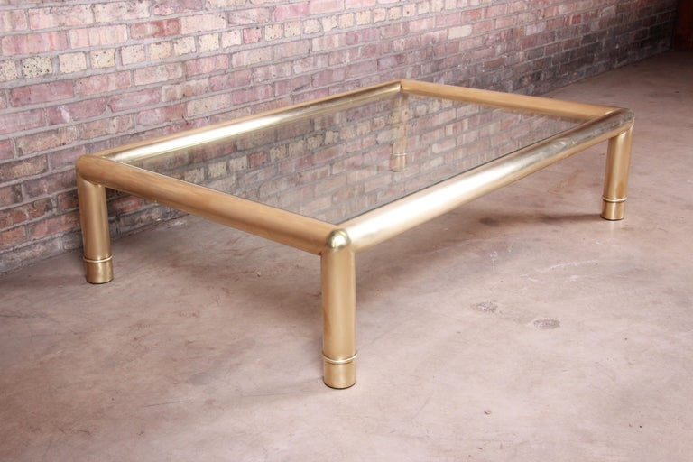 American Mastercraft Monumental Hollywood Regency Brass and Glass Cocktail Table For Sale