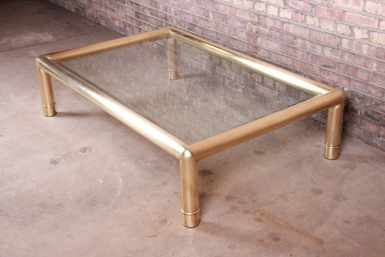 Beveled Mastercraft Monumental Hollywood Regency Brass and Glass Cocktail Table For Sale