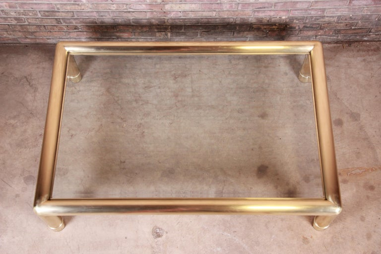Mastercraft Monumental Hollywood Regency Brass and Glass Cocktail Table In Good Condition For Sale In South Bend, IN