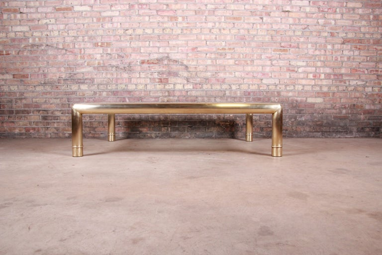 Late 20th Century Mastercraft Monumental Hollywood Regency Brass and Glass Cocktail Table For Sale