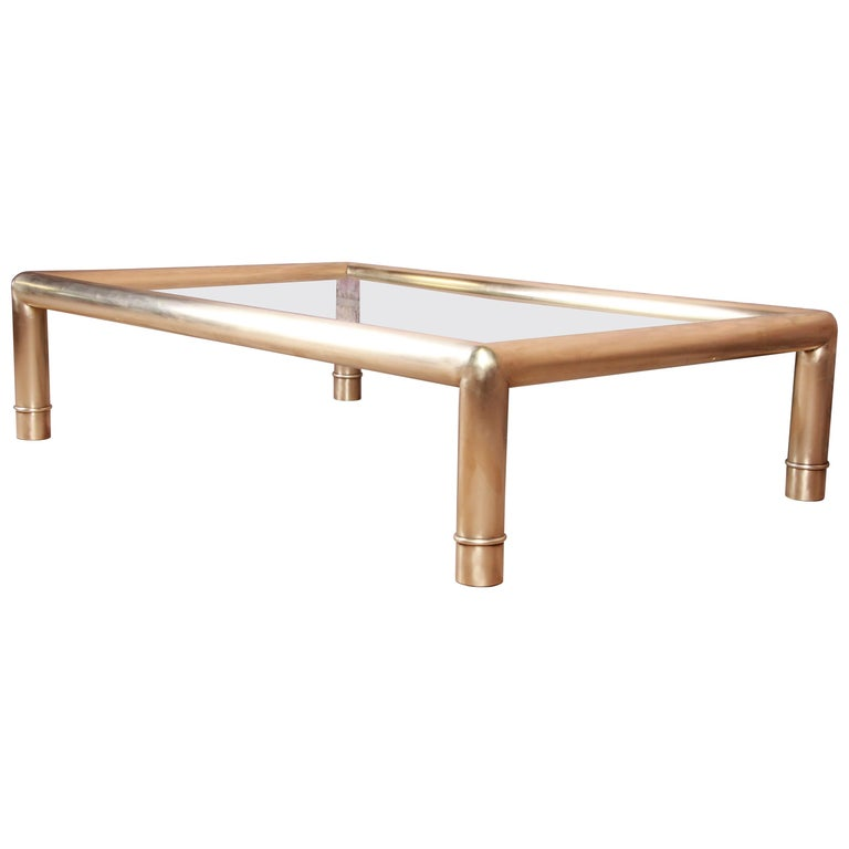Mastercraft Monumental Hollywood Regency Brass and Glass Cocktail Table For Sale