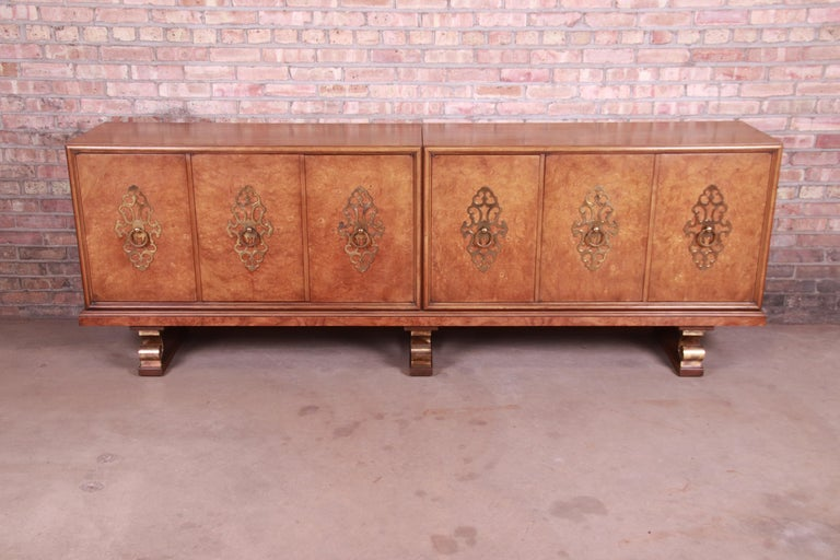 American Mastercraft Monumental Midcentury Hollywood Regency Burl and Brass Sideboard For Sale