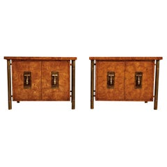 Mastercraft Nightstand End Tables Hollywood Regency Burl Wood and Brass