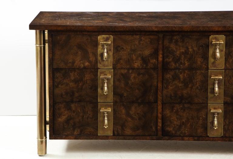 Mid-Century Modern Mastercraft Nine-Drawer Dresser with Brass Hadware For Sale