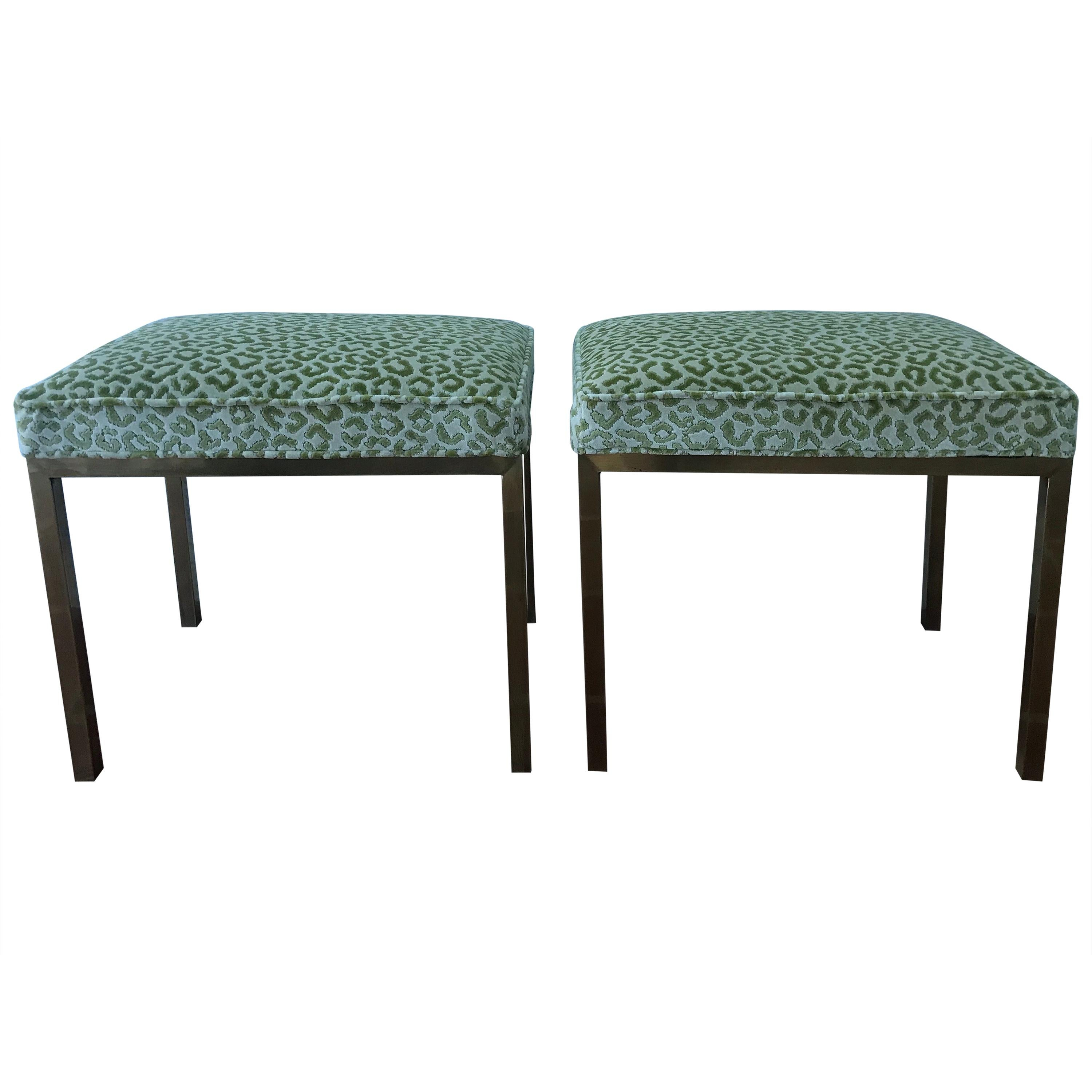 Mastercraft Pair of Brass Upholstered Benches