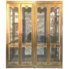 Mastercraft Pair of Brass Vitrines Cabinets