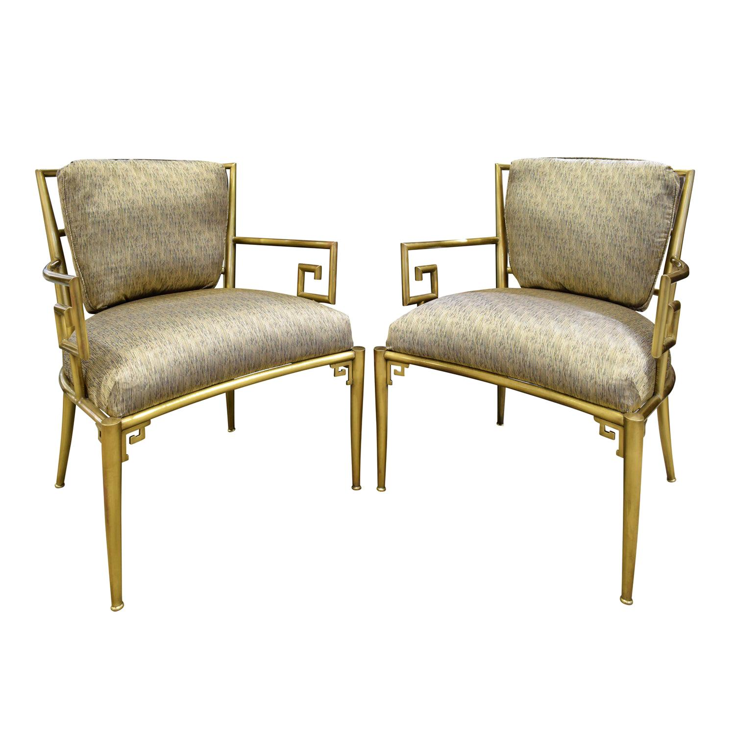 Mastercraft Pair of Greek Key Lounge Chairs in Brass, 1960s