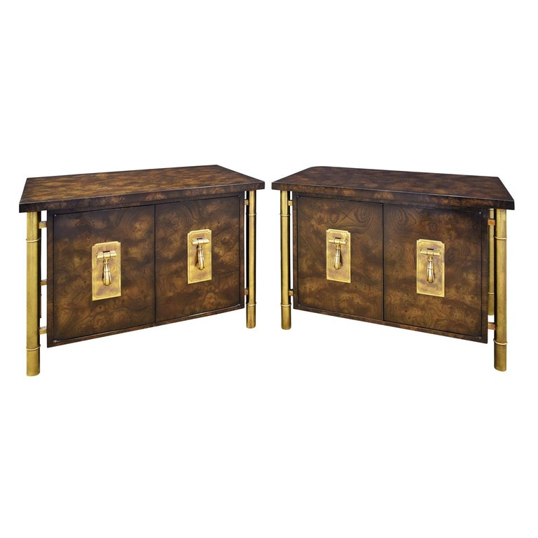 William Doezema for Mastercraft pair of Carpathian elm and brass bedside tables, 1960s, offered by Lobel Modern, Inc.