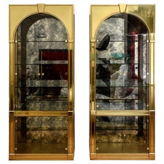 Mastercraft Palladian Style Brass and Antique Glass Vitrines or Dry Bar Pair of