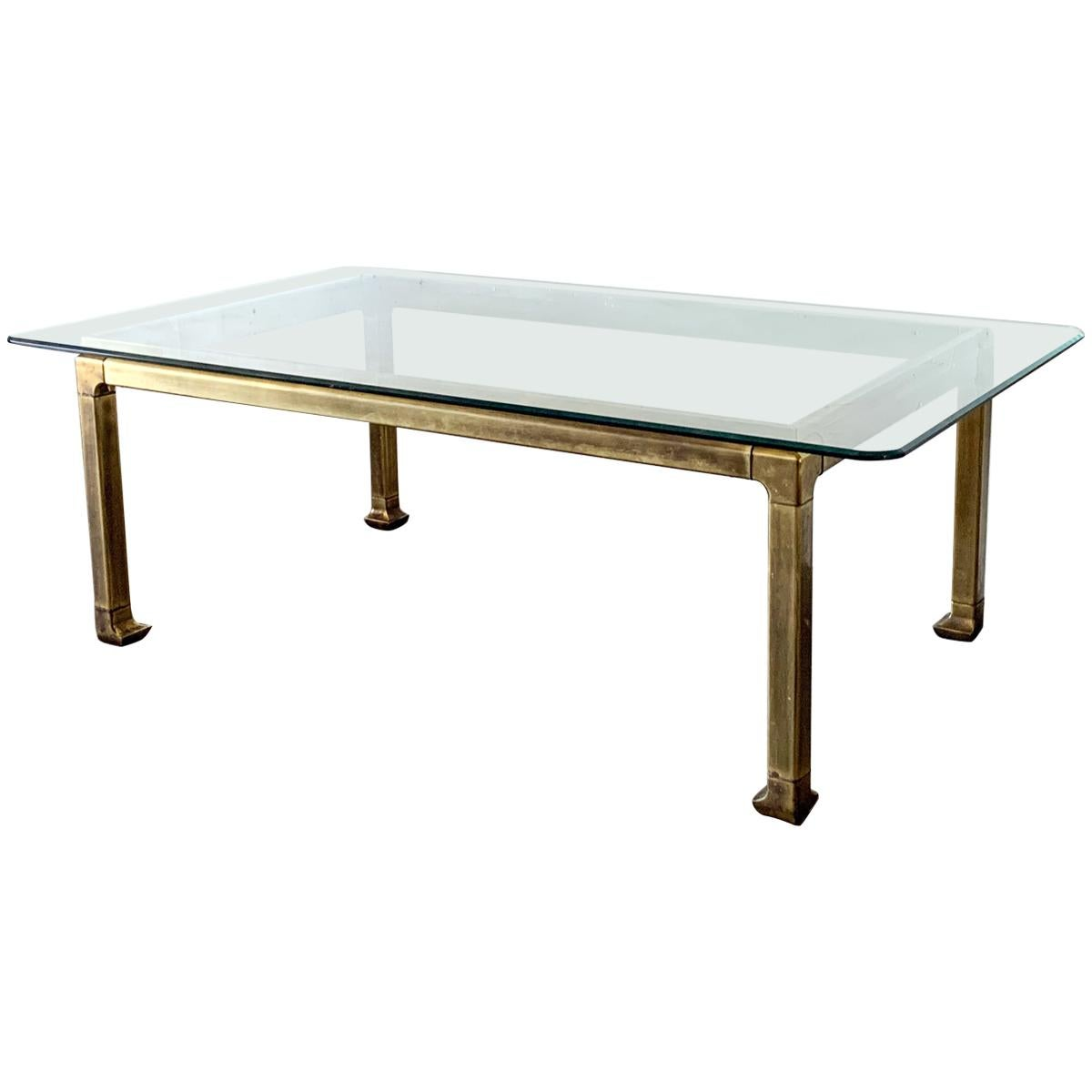 Mastercraft Patinated Brass and Glass Chinoiserie Dining Table