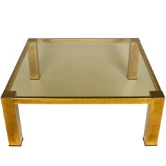 Mastercraft Style Brass and Glass Cocktail Table