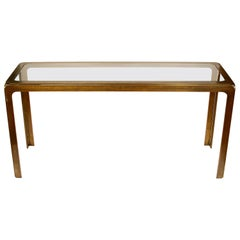 Mastercraft Style Bronze Metal and Glass Console