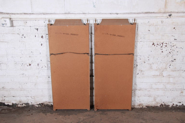 Mid-20th Century Mastercraft Style Hollywood Regency Burl Wood and Brass Wall Mirrors, Pair For Sale