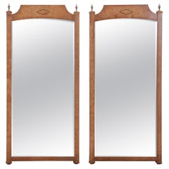 Mastercraft Style Hollywood Regency Burl Wood and Brass Wall Mirrors, Pair