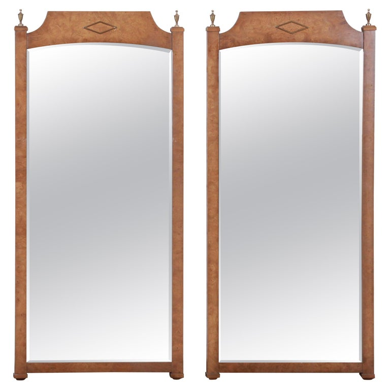 Mastercraft Style Hollywood Regency Burl Wood and Brass Wall Mirrors, Pair For Sale