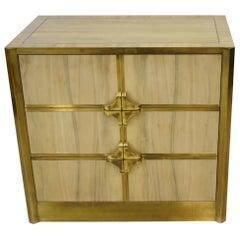 Mastercraft Three-Drawer Chest Brass and Zebra Wood