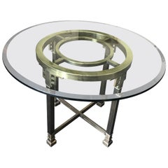 Mastercraft Vintage Brass and Glass Round Greek Key Table